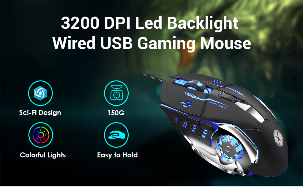 Xmate Zorro Wired USB Gaming Mouse, 3200 DPI Optical Sensor, RGB Lighting, 6 Mechanical Buttons, Lightweight & Durable Mouse for PC/Laptop/Mac