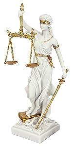 Design Toscano Thémis Dame Aveugle de la Justice Statue Cadeau pour Avocat, 33 cm, résine de marbre
