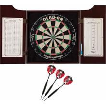 delux set showing open cabinet with scoreboard and 3 darts