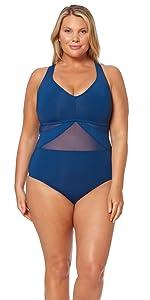 837e586c31 Bleu Rod Beattie Women's Plus-Size Solid Skirted One Piece Swimsuit ...