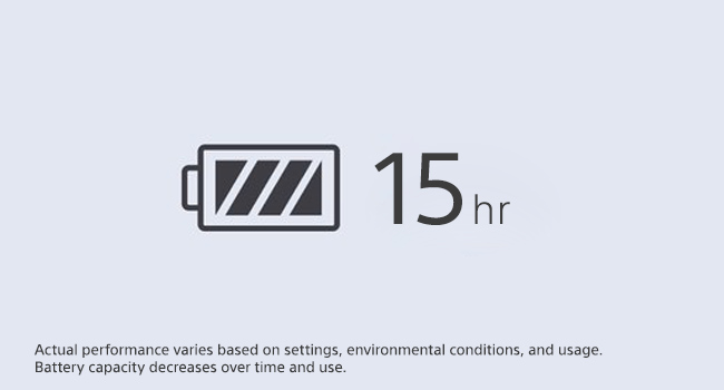 Up to 15 hours of battery life