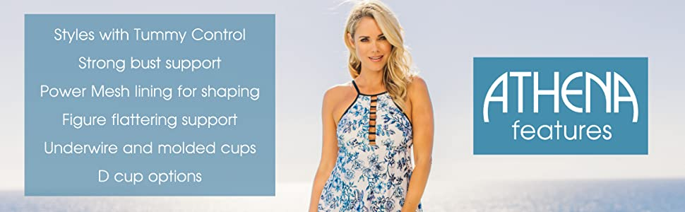 tummy control, d cups, molded cups, power mesh lining, support, one piece, two piece, tankini, suit