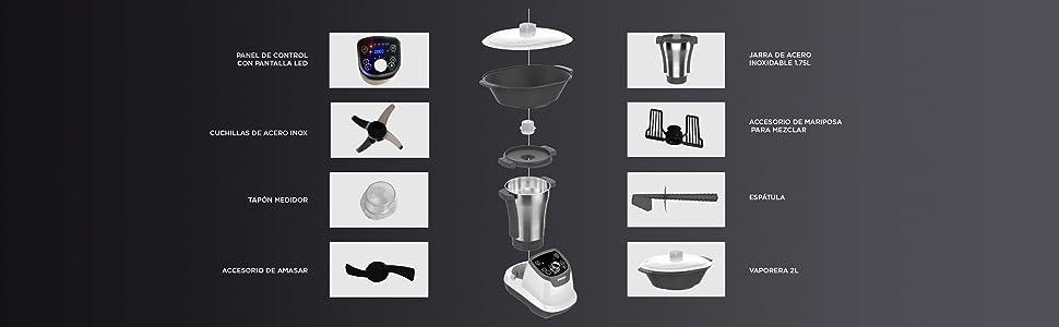 SOGO SS-14545 Robot de Cocina Multifunción, Con Libro de Recetas ...