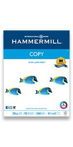 o basic, copy, everyday, black, white, fish, printing, fax, hammermill, quality,jam-free,printer pap