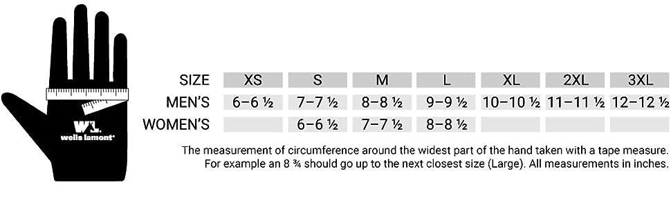 wells lamont size chart