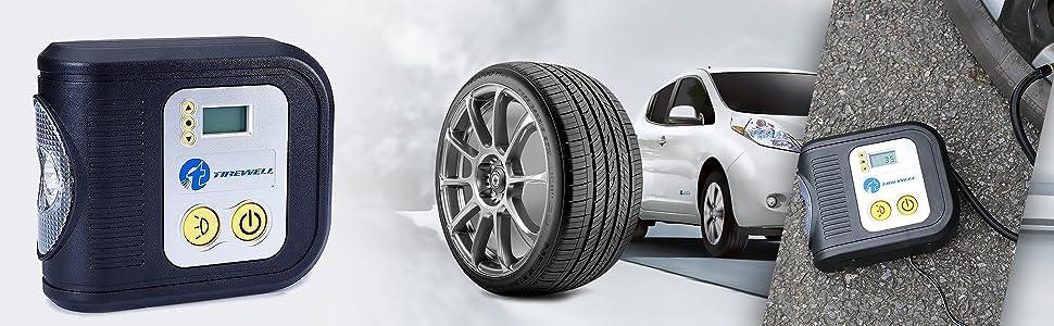 TIREWELL TW-7001 12V Digital Tyre Inflator Auto Cutoff Portable Air Compressor