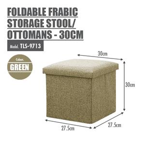 FOLDABLE FABRIC STORAGE STOOL/OTTOMANS (GREEN) - 30CM