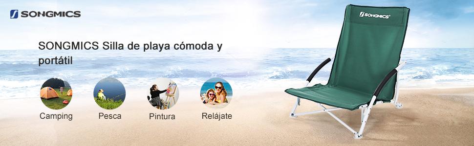SONGMICS Silla de Playa Portátil, Plegable, Ligera, Cómoda, Resistente, Silla de Exterior