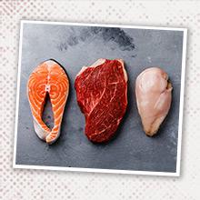 Salmon, Beef, Chicken