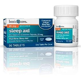 Basic Care Sleep Aid, doxylamine succinate tablets 25 mg,