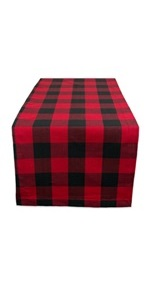 Red and black buffalo check design table runner.