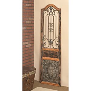 5d32c6b574 Amazon.com: Deco 79 Rustic Arched Door-Inspired Wood and Metal Wall ...