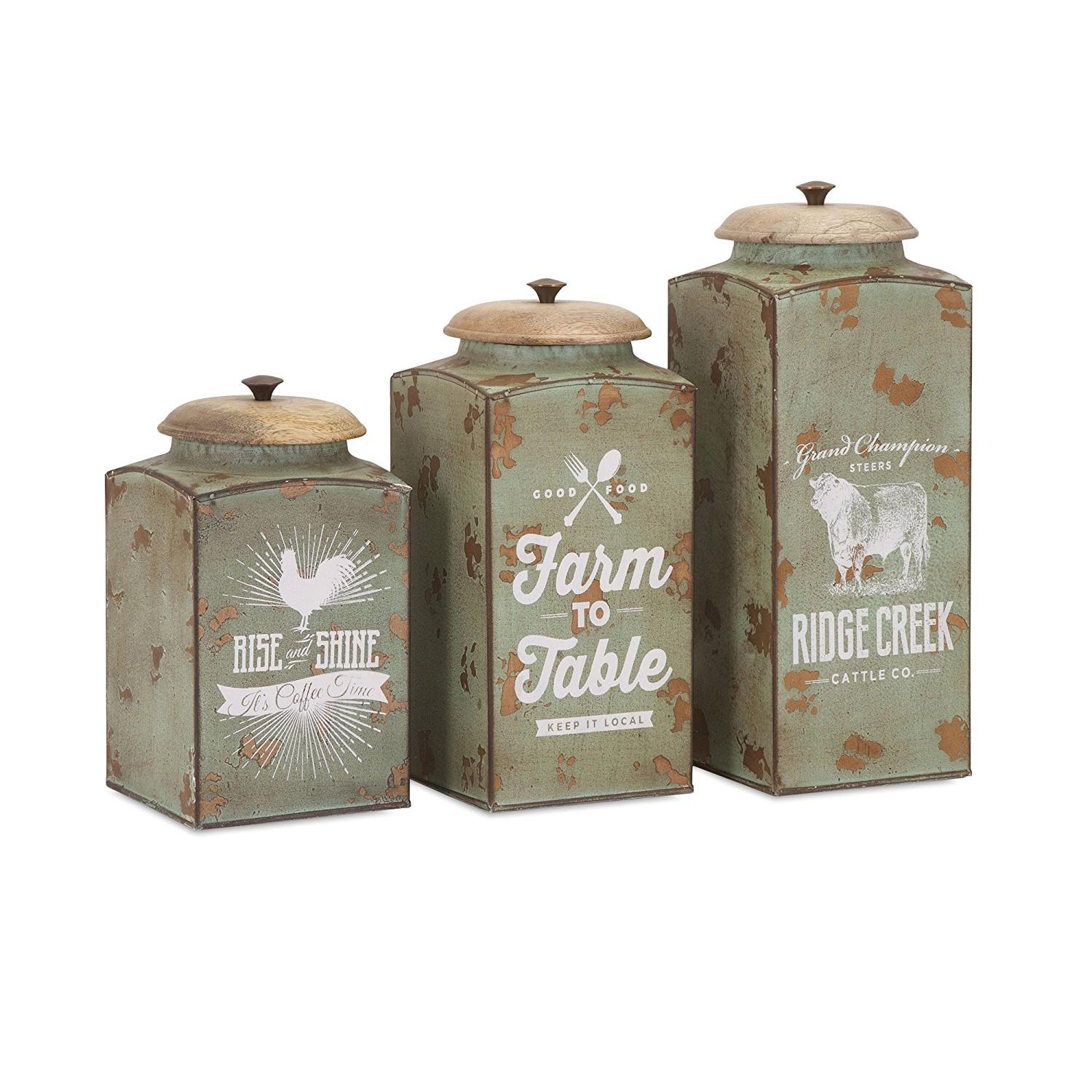 style kitchen canisters amazon com imax 95727 3 farmhouse lidded canisters set