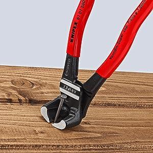 KNIPEX 61 01 200 Pinzas de corte frontal para pernos gran efecto palanca negro atramentado recubiertos de pl/ástico 200 mm