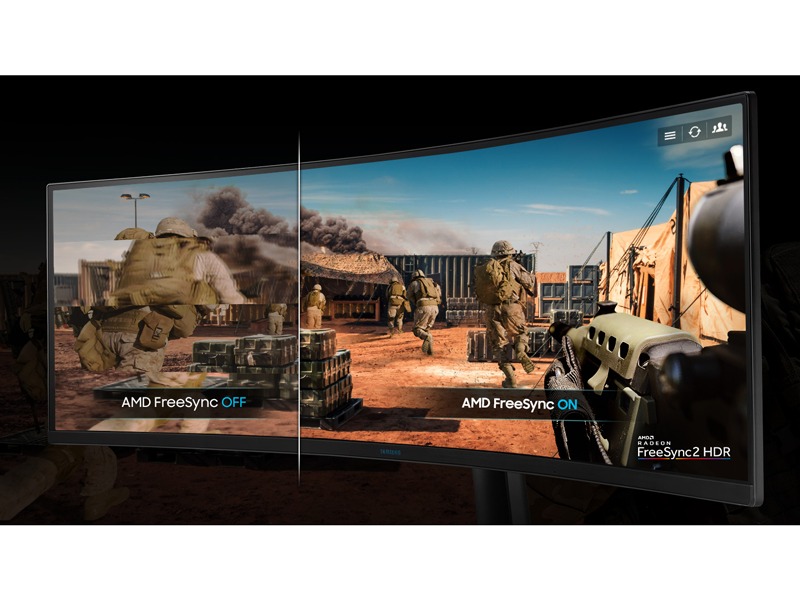 Battefield being played on a monitor with vs. without FreeSync2