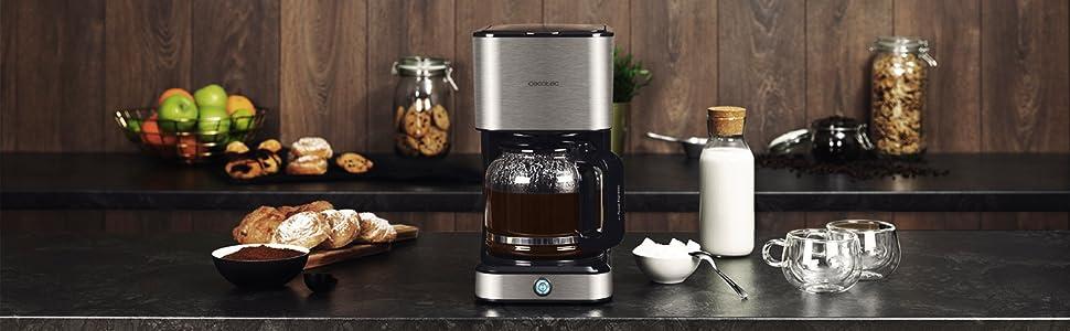 Cecotec Cafetera Goteo Coffee 66 Heat. Tecnología ExtremeAroma, Capacidad 1,5l (12 tazas), Función Recalentar y Mantener Caliente, Jarra ...