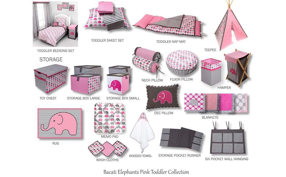 Elephants Pink/Grey Toddler Room Decor