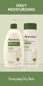 Pump bottle of Aveeno Fragrance-Free Daily Moisturizing Body Lotion with soothing oat for dry skin