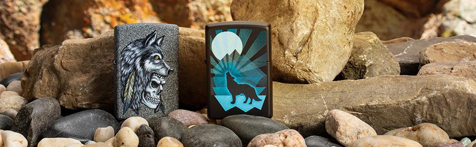 wolf lighters, wolves, animals animal lighters, skulls, wolf, wolfs, black matte, iron stone, black