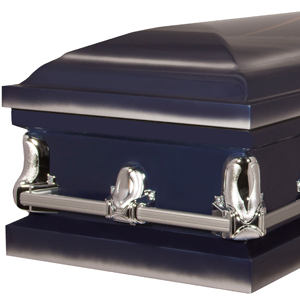 funeral casket with sculpted detailed hardware
