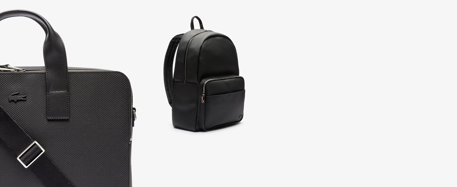 Maletín para portátil y mochila negros Lacoste para hombre