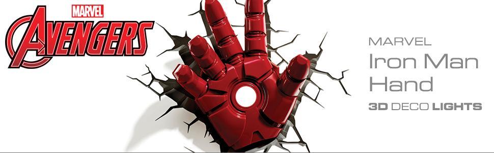 Marvel, Avengers, Iron Man, Hand, 3D Deco Light, nightlight, LED bulbs, cordless, battery operated