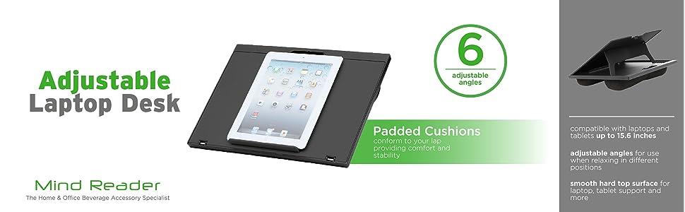 laptop, desk, cushions, laptop desk, lap desk, microbead, adjustable, height, angles, lap, padded