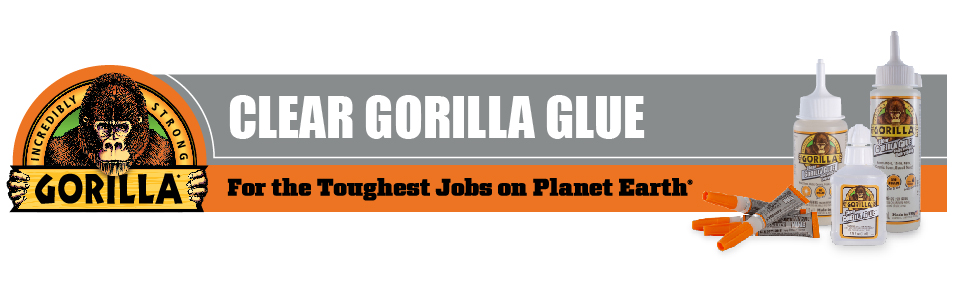 Clear Gorilla Glue glass e6000 pva pvc plastic