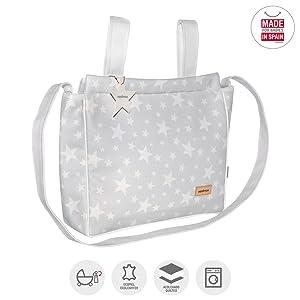 Cambrass Etoile - Bolso maternal panadera para carro bebe, 13 x 40 x 33 cm, color gris