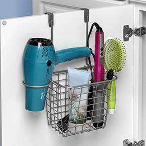 Merveilleux Grid Small Over The Cabinet Hair Dryer Holder Accessory Basket