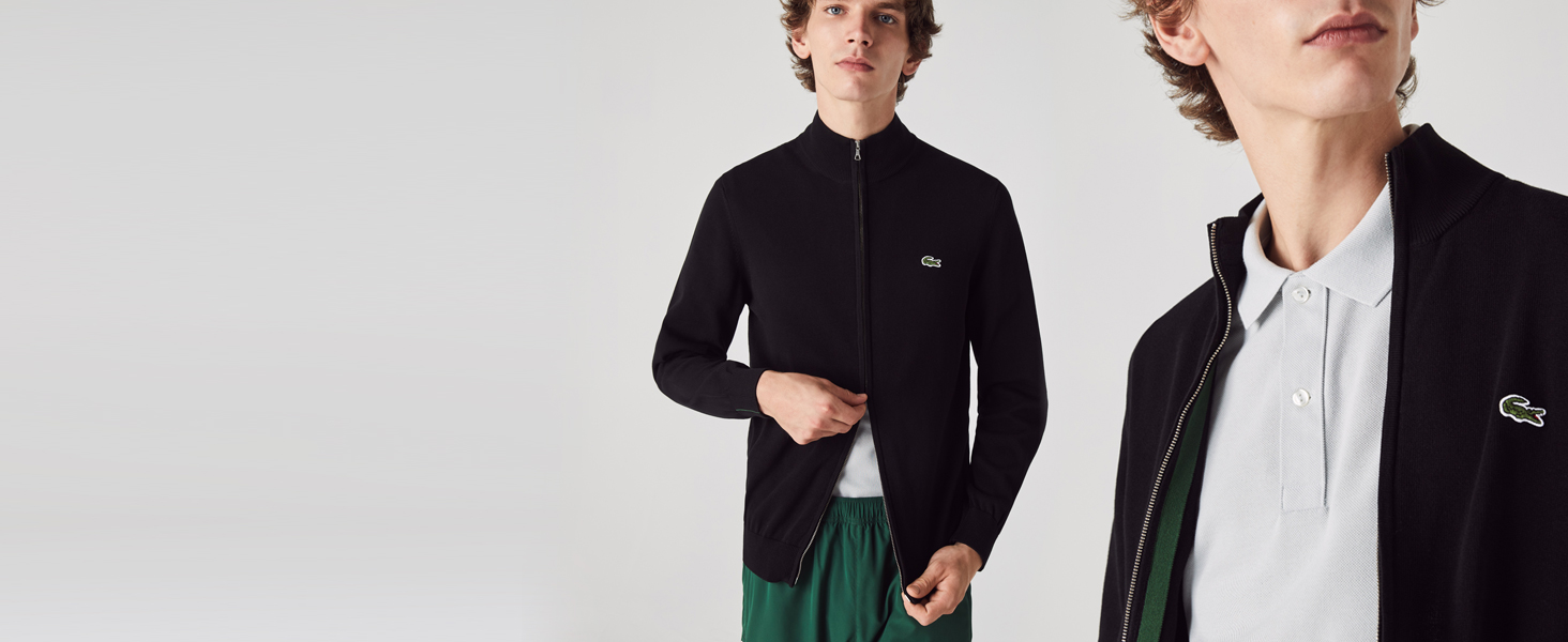 Man zipping Lacoste high neck black jumper
