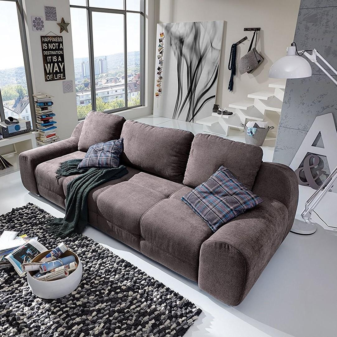 cavadore big sofa benderes gro e couch mit steppung und ziernaht inkl 3 kissen chromf e 266. Black Bedroom Furniture Sets. Home Design Ideas