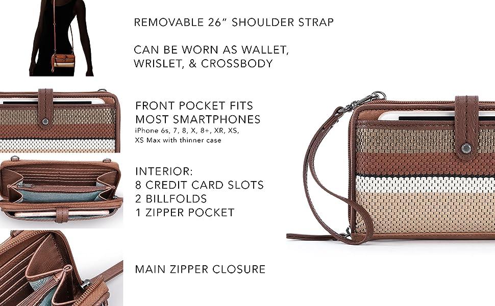 iris, smartphone, crossbody, features, leather
