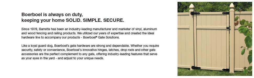 Boerboel Gate Hinge White No Rust Aluminum Wood Vinyl Made of Steel Hardware