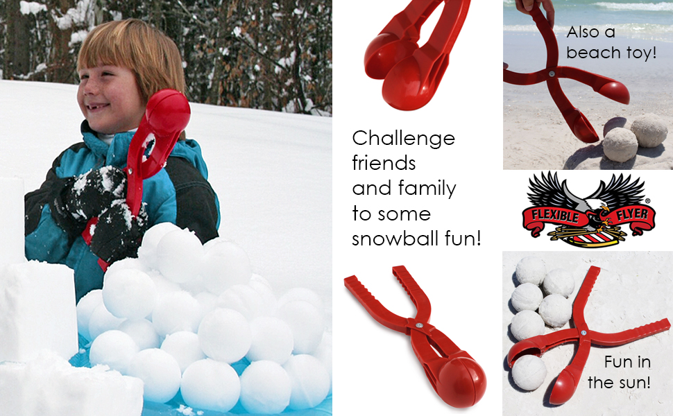 Snowball maker for fun in the snow. Sand toy for beach fun.