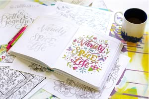 hand lettering, lettering, coloring, letter art, Megan Wells, colored pencil