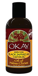 OKAY 100% Pure Black Jamaican Castor Oil /Oil of Palma Christi All Natural 8 Oz