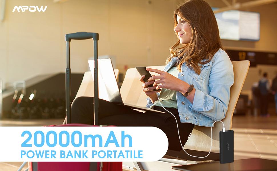 Mpow Powerbank 20000mAh 2 Porte, Caricabatterie Portatile 2