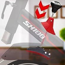 Sportstech Bicicleta estática para interior SX100 con volante de inercia 13kg, reposabrazos
