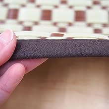 厚み 縁 ヘリ 四方縁 ルイス ブラウン 茶 茶色 和柄 和モダン PP ラグ 花ござ 上敷き カーペット い草風 水洗い可