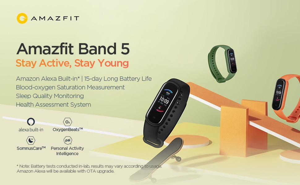 Amazfit Band 5 Fitness and Activity Tracker, Heart Rate and Blood Oxygen Monitor