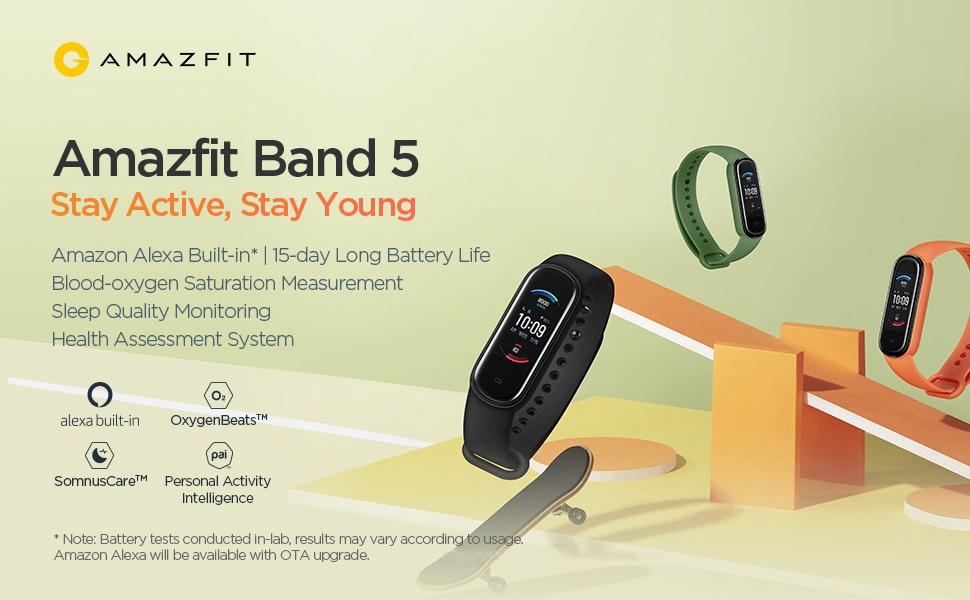 Amazfit Band 5 - Monitor de actividad y actividad física, frecuencia cardíaca y oxígeno en sangre