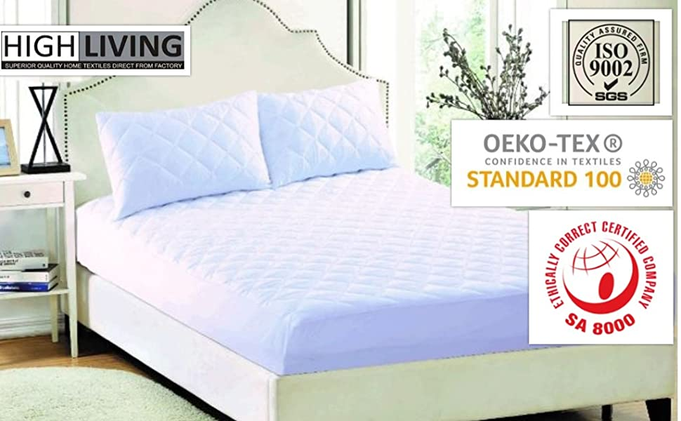 Highliving Quilted Mattress Protector Extra Deep King
