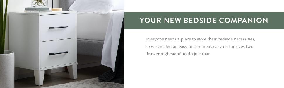 store bedside night stand 2 drawer dresser Edenbrook contemporary sleek night stand for bedroom