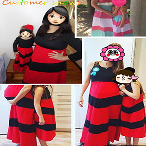 Zalanala Mom/&Me Dress for Girl Stripes Star Print Patchwork Maxi Tank Top Dress American 4 of July