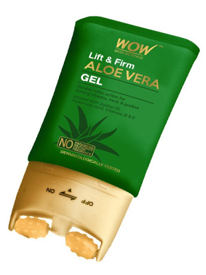 WOW SKIN SCIENCE LIFT & FIRM ALOE VERA GEL, DOUBLE ROLLER ACTION FOR CHEEKS, JAW & NECK