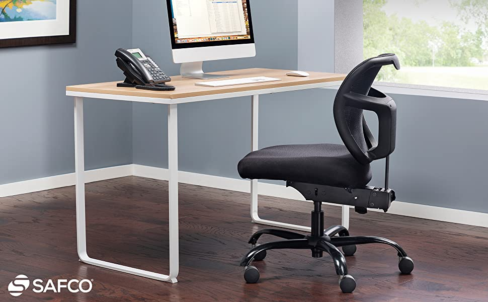Safco vue intensive-use chair at a desk in an office