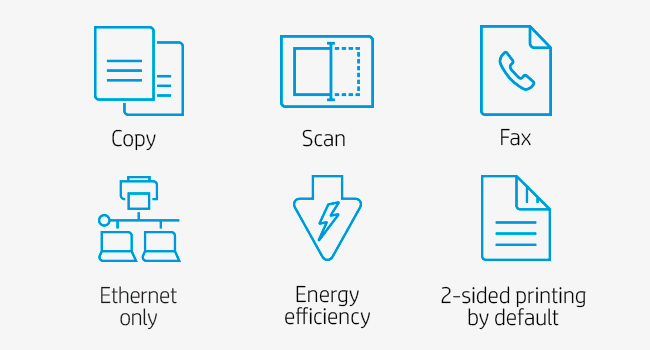 print color copy scan fax ethernet energy efficiency 2-sided printing by default