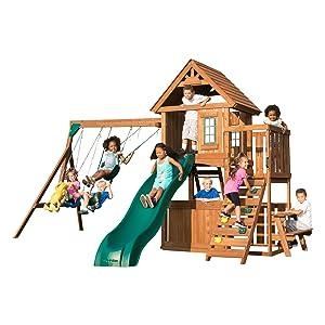 Tioga Fort, WS 8348, swing set with slide, swing set for kids, wooden swing set, play set for kids