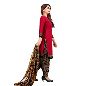 Rajnandini Women's Red Crepe Printed Unstitched Dress Material